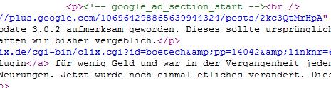wpSEO AdSense Quellcode