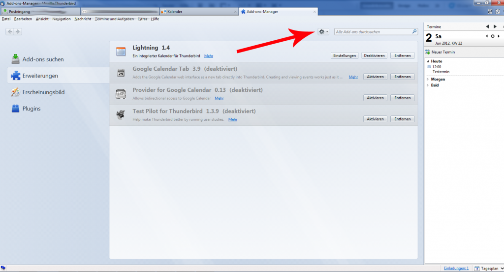 Lightning 1.4 in Thunderbird installieren
