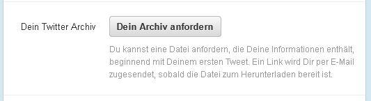 Twitter Archiv anfordern
