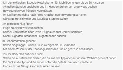 Expedia-App Beschreibung