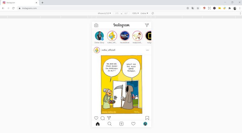Auch via Chrome ist Instagram am Desktop vollständig benutzbar.